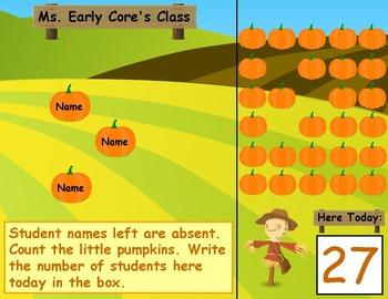 Pumpkin PowerPoint Attendance Boards Kindergarten or First Grade