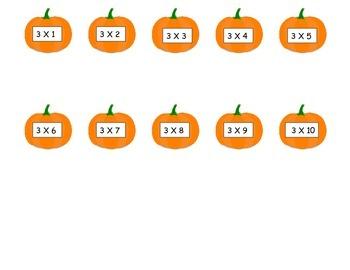 Pumpkins 3 Times Table Game (File Folder)