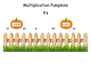 Pumpkins 4 Times Table Game (File Folder)