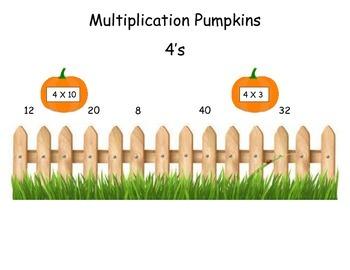 Pumpkins 4 Times Table Game (File Folder)