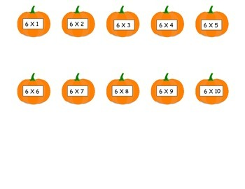 Pumpkins 6 Times Table Game (File Folder)