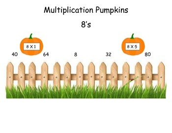 Pumpkins 8 Times Table Game (File Folder)