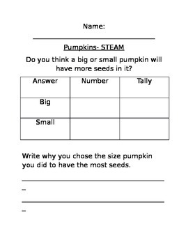 Pumpkins- A STEAM like activity