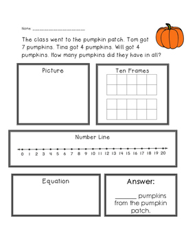 Pumpkins Adding 3 Numbers Word Problem