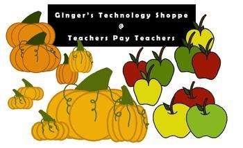 Pumpkins * Apples * Clipart * Fall * Autumn