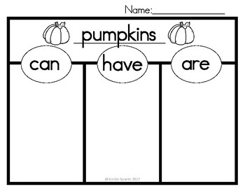 Pumpkins Can, Have, Are Chart