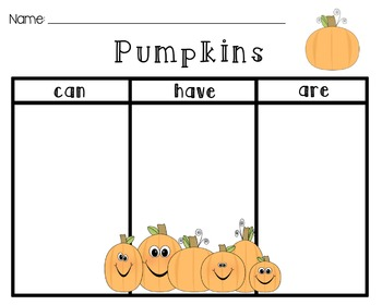 [Pumpkins] Can, Have, Are [Graphic Organizer]