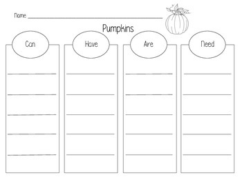 """Pumpkins """"Can, Have, Are, Need"""" Graphic Organizer"""