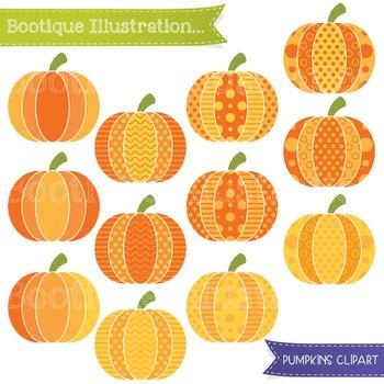 Pumpkins Clip Art. Patterned  Pumpkins Clip Art. Halloween Clip Art.