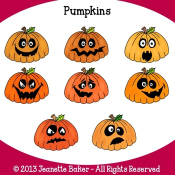 Pumpkins Clip Art by Jeanette Baker