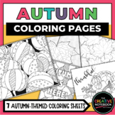 Autumn Coloring Pages | Pumpkins Leaves Halloween | Thanksgiving Activity