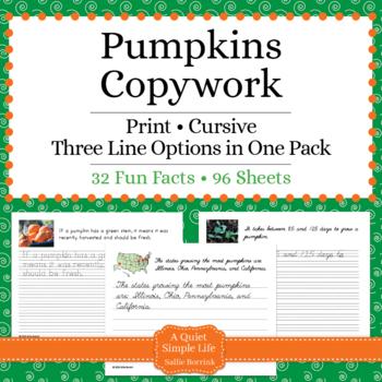 Pumpkins – Print and Cursive - Handwriting - Copywork