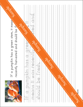 Pumpkins - Cursive - Copywork - Handwriting