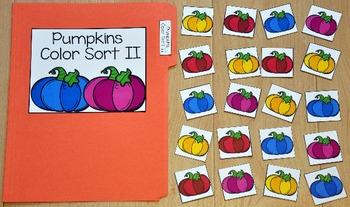 """Pumpkins File Folder Game: """"Pumpkins Color Sort II"""""""