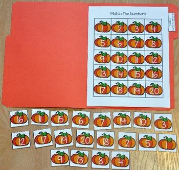 """Pumpkins File Folder Game: """"Pumpkins Number Match"""""""
