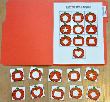 "Pumpkins File Folder Game: ""Pumpkins Shapes Match"""