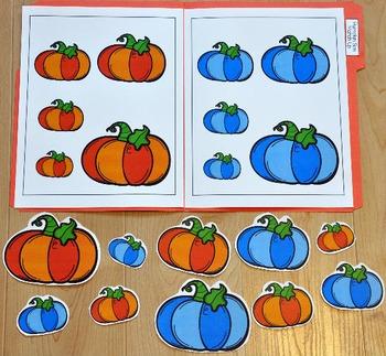 "Pumpkins File Folder Game: ""Pumpkins Size Match Up"""
