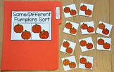 """Pumpkins File Folder Game: """"Same and Different Pumpkins Sort"""""""