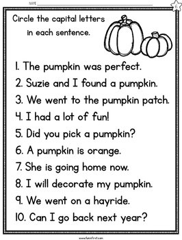 Pumpkins Fluency Passages