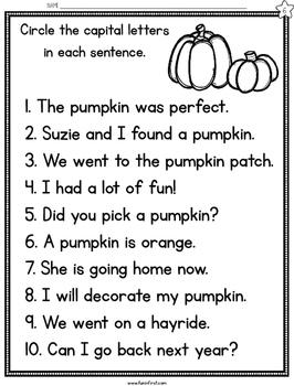 Pumpkins Fluency Passages