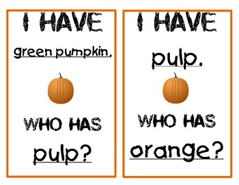 """Pumpkins """"I Have...Who Has"""" game"""
