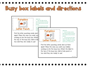 Pumpkins Letter Punch Busy Box