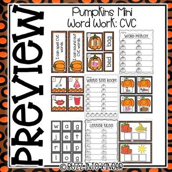 Pumpkins: Mini Word Work for CVC Words
