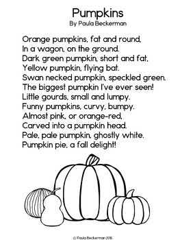 Pumpkins Poem: Guided Reading Book