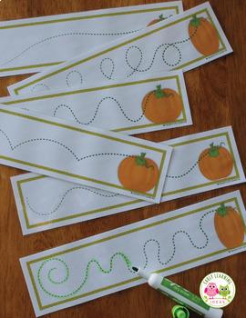 Pumpkins Pre-Writing Cards FREEBIE:  Fall Fine Motor Practice for ECE