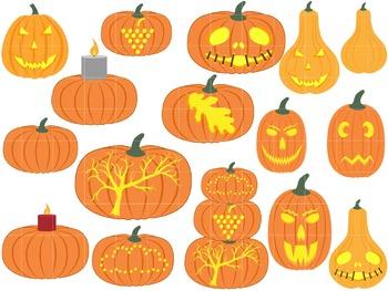 Pumpkins Set Clipart Digital Clip Art Graphics 16 images cod31