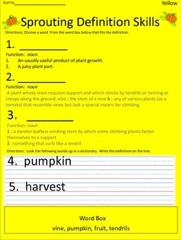 Pumpkins:  Sprouting Definition Skills