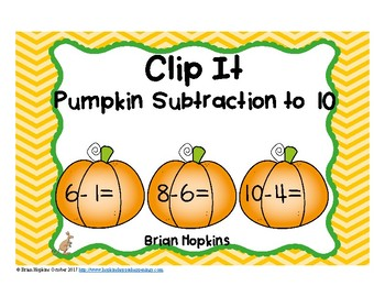 Pumpkins Subtraction to 10 Clip It
