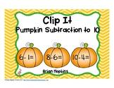 Pumpkins Subtraction to 10 Clip It