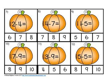 Pumpkins Subtraction to 20 Clip It