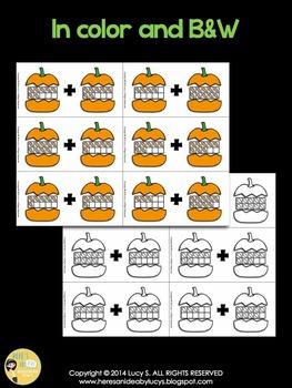 Pumpkins Ten Frame Addition Match - within 10 & 20