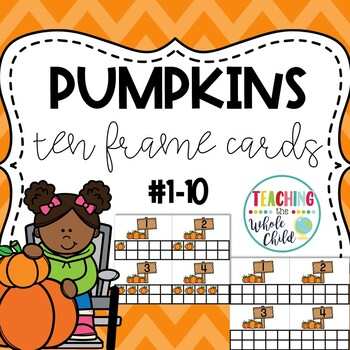 Pumpkins Ten Frames Cards- Preschool, Pre-K, K