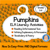 Pumpkins Literacy Activities: Reading, Writing, Vocabulary, Poetry CCSS