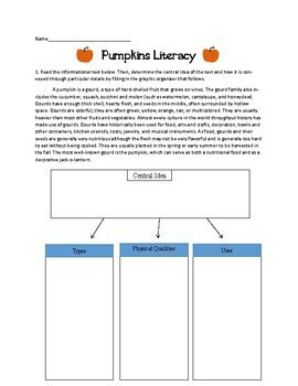 Pumpkins Literacy Activities: Reading, Writing, Vocabulary, Poetry Thanksgiving