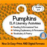 Pumpkins Literacy Activities: Reading, Writing, Vocabulary