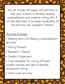 Welcome to the Pumpkin Patch {Integrated-Skills Activities for Fall}