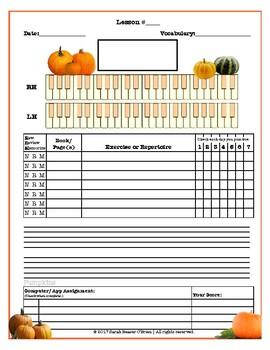 Pumpkins Themed Piano Lesson Assignment Sheet *FALL* *AUTUMN*