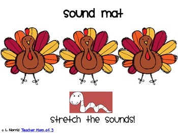Pumpkins, Turkeys, Snowman Sound Mats for Phonemic Awareness