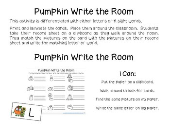 Pumpkins ELA and Math Activities Kindergarten