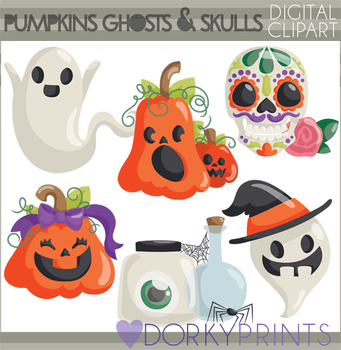 Pumpkins and Ghosts Halloween Clipart