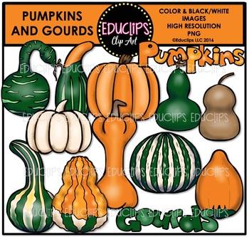 Pumpkins and Gourds Clip Art Bundle