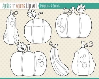 Pumpkins and Gourds Clip Art - color and outlines