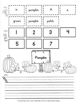 Pumpkins and Halloween Cut Apart Sentences