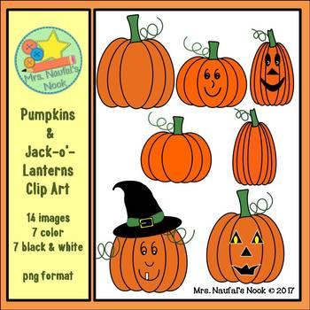 Pumpkins and Jack-o'-Lanterns Clip Art