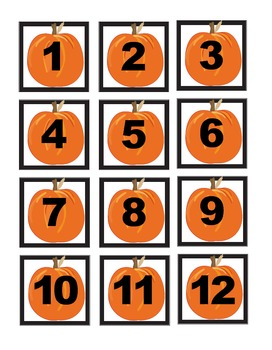 Pumpkins and Leaves Calendar Cover Set 1-31 Plus