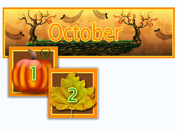 Pumpkins and Leaves Calendar for the Month of October